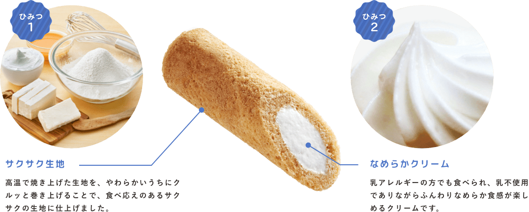 ひみつ1:サクサク食感 高温で焼き上げた生地を、やわらかいうちにクルッと巻き上げることで、食べ応えのあるサクサクの生地に仕上げました。 ひみつ2:濃厚なクリーム 乳アレルギーの方でも食べられ、乳不使用でありながらふんわりなめらか食感が楽しめるクリームです。